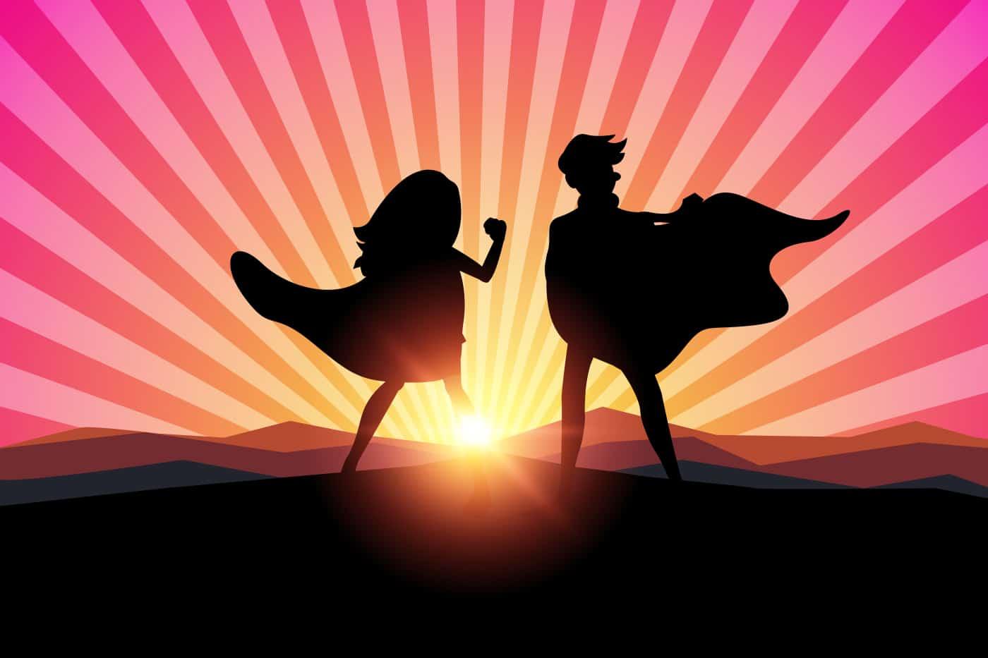 Tecknade silhuetter av kvinnlig och manlig superhjälte med solnedgång i bakgrunden.
