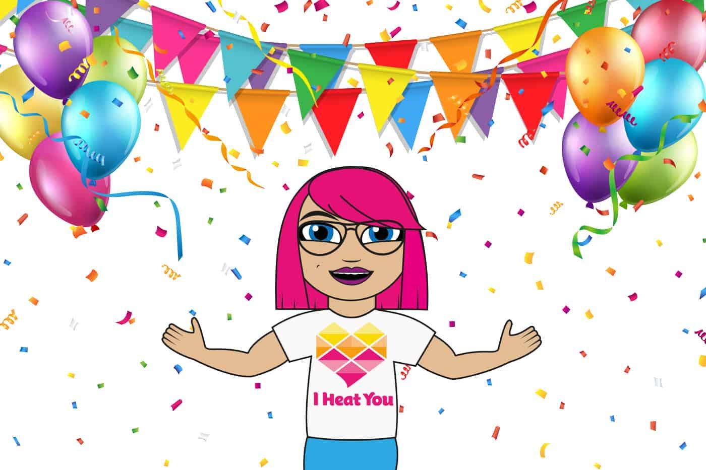 Tecknad tjej med rosa hår firar med ballonger och confetti